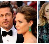 Primo piano di Adele, Brad Pitt e Angelina Jolie