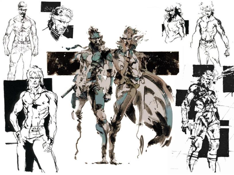 Solid Snake e Liquid Snake disegnati dal character artist Yoji Shinkawa