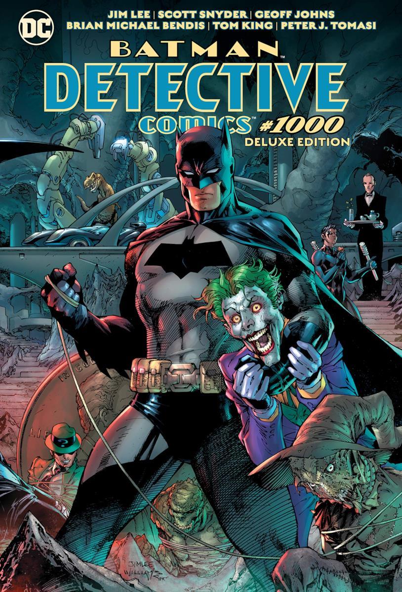 Batman tiene sotto braccio Joker nella cover del fumetto Batman Detective Comics 1000