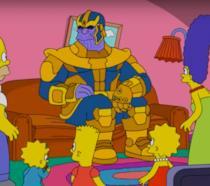 I Simpson con Thanos sul loro divano