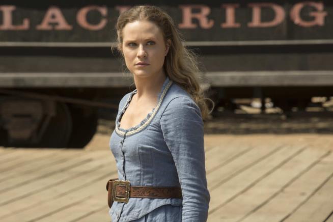 La protagonista Dolores Abernathy in una scena della prima serie di Westworld
