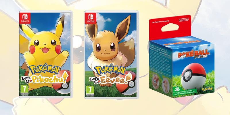 Le boxart e la Poké Ball Plus per Pokémon Let's Go Pikachu e Eevee