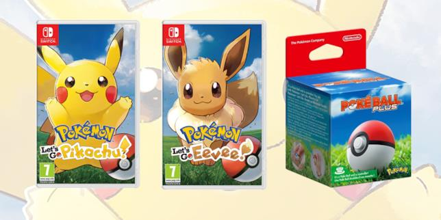 Le due versioni di Pokémon Let's Go e il controller PokéBall Plus
