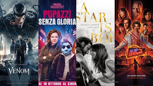 I poster dei film Venom, Pupazzi senza gloria, A Star Is Born, 7 sconosciuti a El Royale