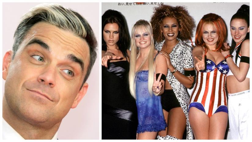 Primo piano di Robbie Williams e delle Spice Girls