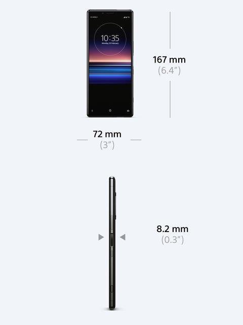 Immagine stampa di Xperia 1 con le dimensioni dello smartphone