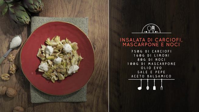 La ricetta dell'insalata di carciofi, mascarpone e noci