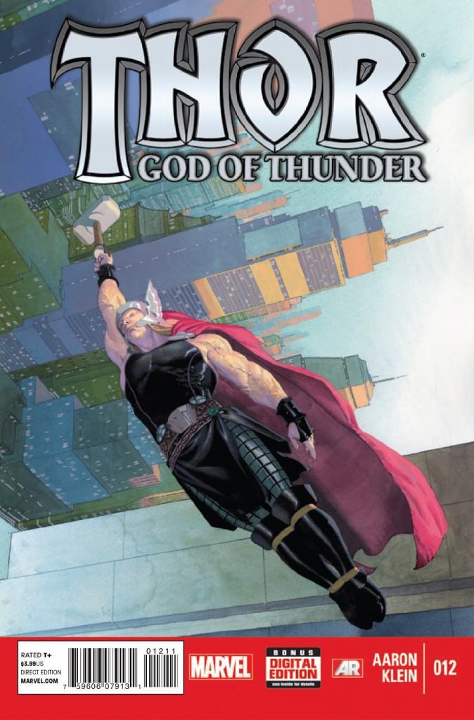 Thor vola con in mano il suo martello nella cover del fumetto Thor: God of Thunder n. 12