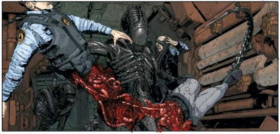 Alieno che dilania umano in Aliens #3