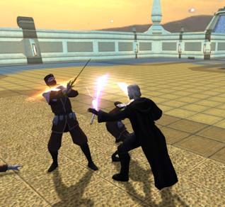 Una immagine dal gioco Star Wars: Knights of the Old Republic, in cui due personaggi combattono