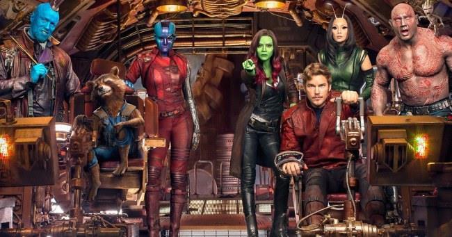 In foto i Guardiani della Galassia, Nebula, Yondu e Mantis