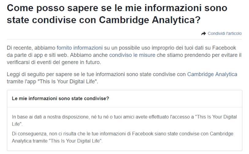 Test di Facebook che nega la condivisione di informazioni con Cambridge Analytica