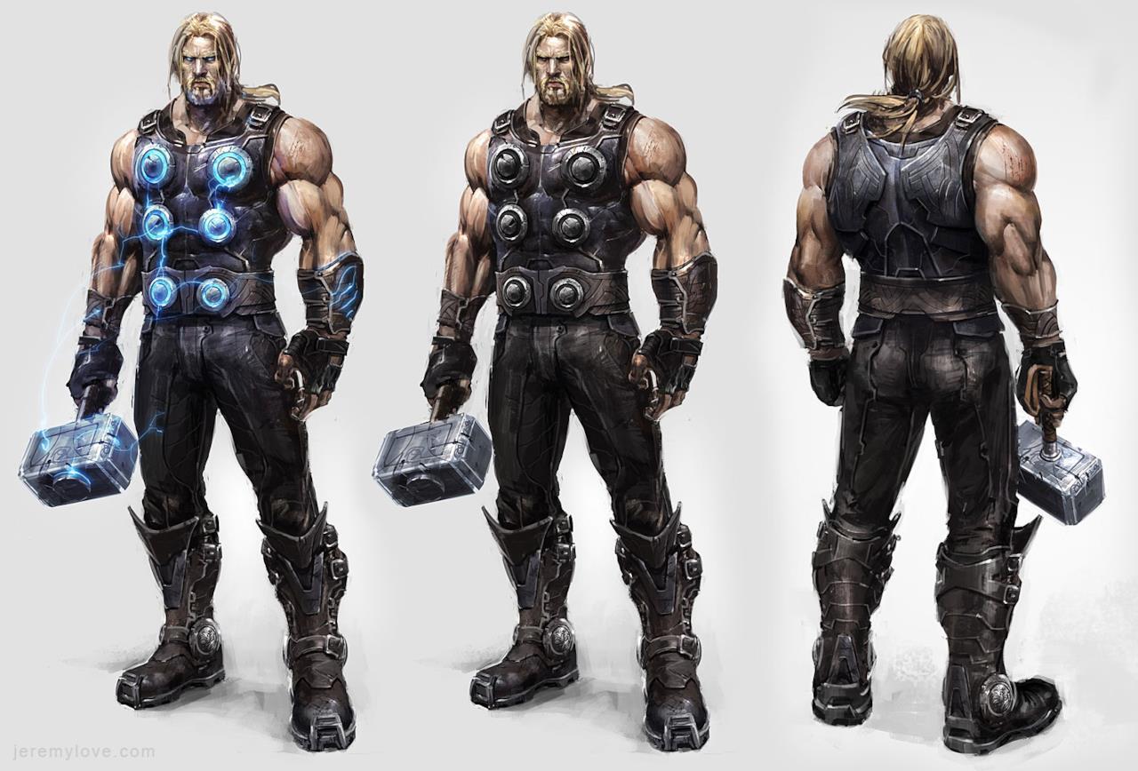 Thor in una concept art del videogame Avengers