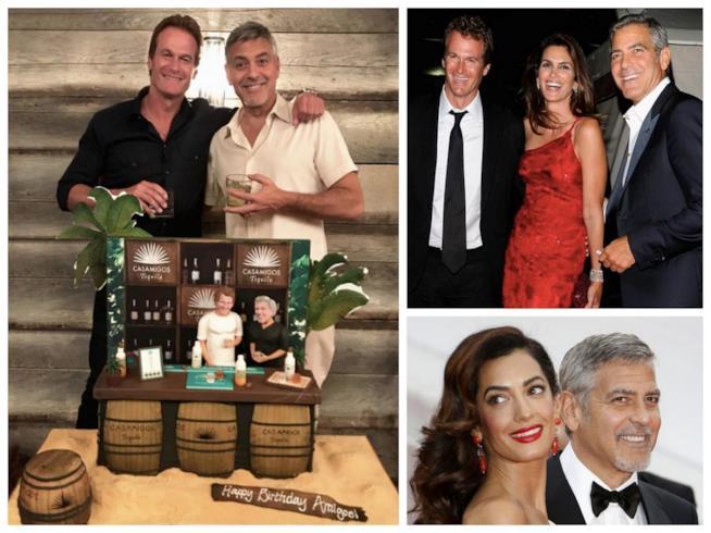 Alcuni scatti di George Clooney con Amal e con i suoi amici Cindy Crawford e Rande Gerber