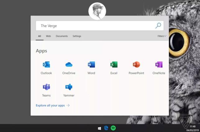 Il mock-up dell'UI di Windows Lite realizzato da Tom Warren di The Verge