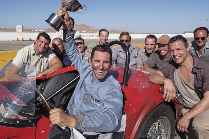 Christian Bale nei panni del pilota Ken Miles in una scena del film Le Mans '66 - La grande sfida