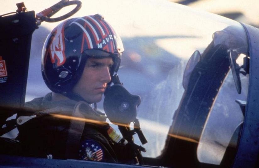Tom Cruise sul set di Top Gun