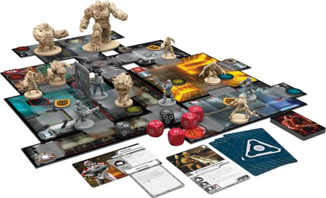 Il tabellone, le carte e le statuette di Doom