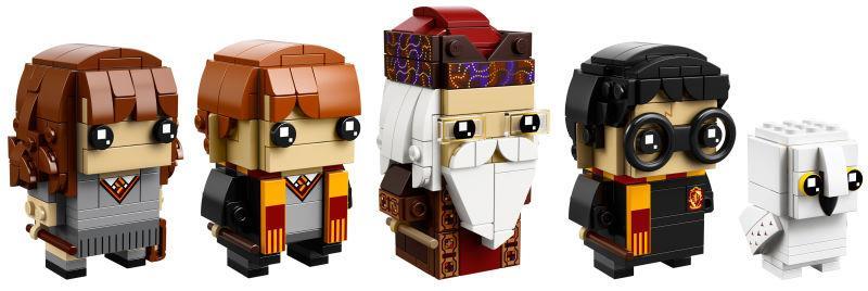 Dettagli dei nuovi set LEGO BrickHeadz dedicati ai personaggi di Herminone, Ron, Silente, Harry Potter ed Hedwig