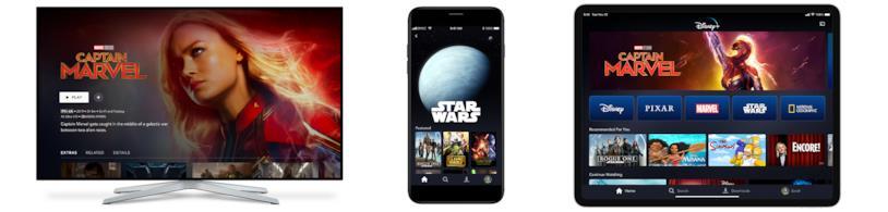 Disney+ in esecuzione su Smart TV, iPhone e iPad