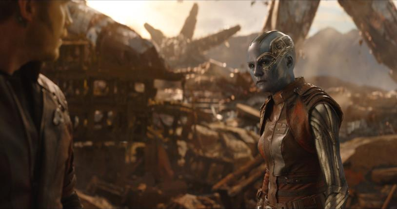 Nebula e Star-Lord su Titano in Avengers: Infinity War