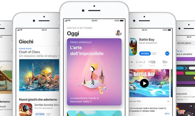 Alcune schermate di App Store su iPhone