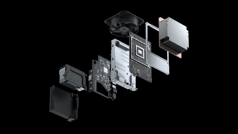 Immagine stampa dei componenti interni di Xbox Series X