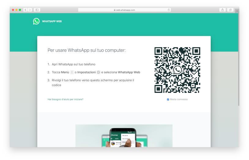 Schermata iniziale di WhatsApp Web su Safari