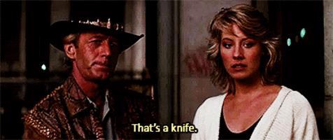 Una scena celebre di Mr. Crocodile Dundee