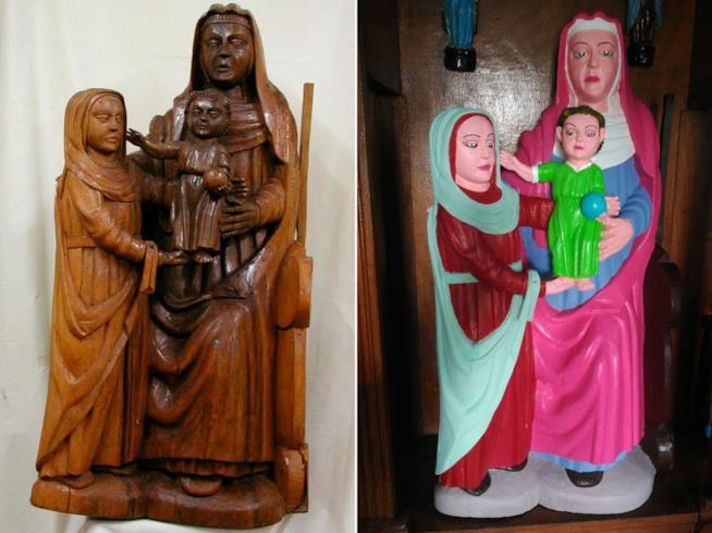 Il prima e il dopo restauro della statua della Vergine Maria
