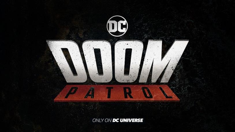 Logo della serie TV Doom Patrol su sfondo nero