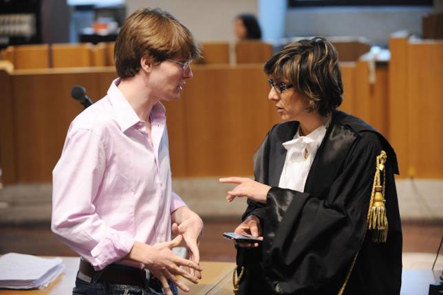 Raffaele Sollecito in aula con Giulia Bongiorno