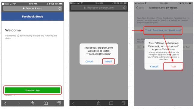 Screen che mostrano i passaggi per l'installazione di Facebook Research