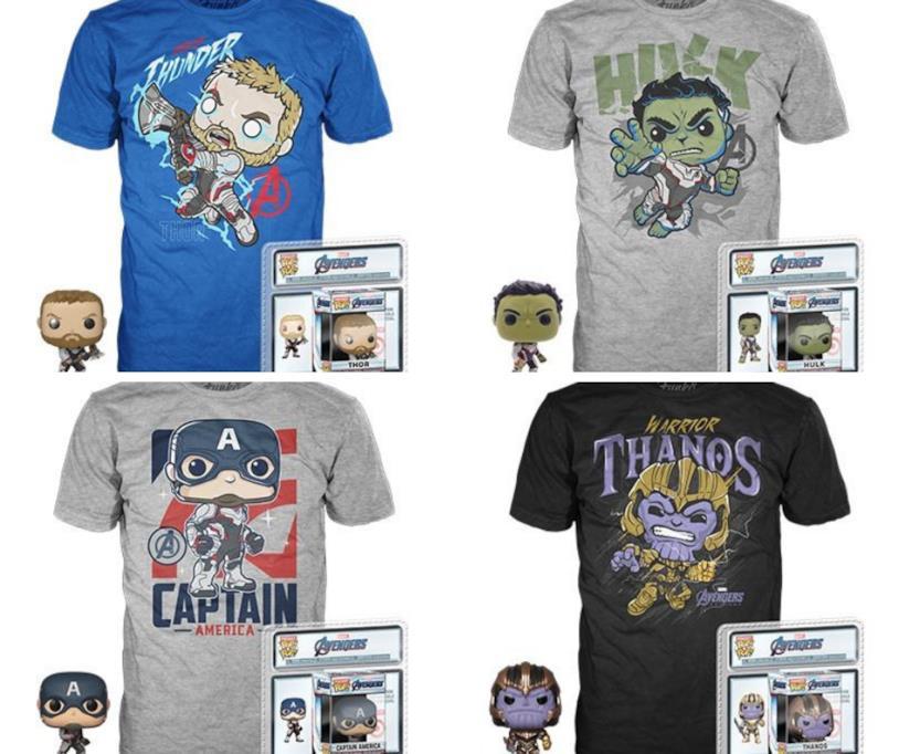 Thor, Hulk, Capitan America e Thanos raffigurati nelle magliette Funko Pop!