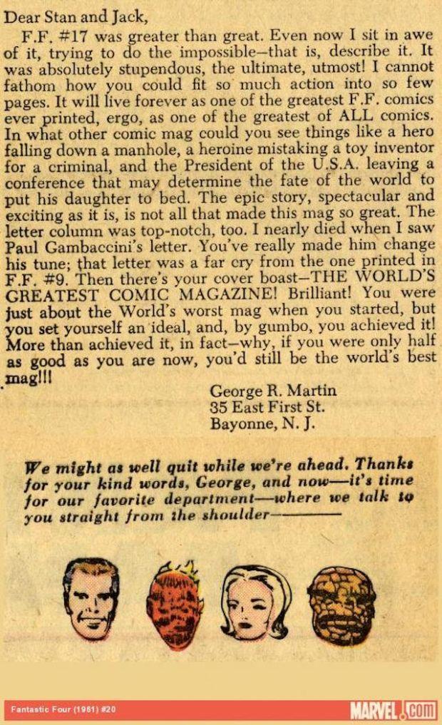 La lettera di George R.R. Martin a Stan Lee