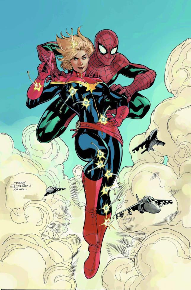Capitan Marvel vola e deflette proiettili insieme a Spider-Man