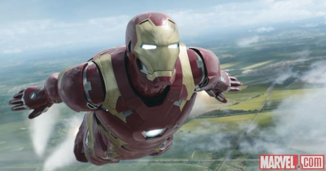Iron Man in volo in Capitan America: Civil War