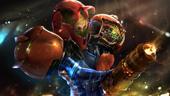 Un primo piano di Samus Aran, eroina di Metroid