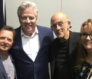 Il cast di Ritorno al futuro: Michael J. Fox, Christopher Lloyd, Lea Thompson e Thomas Wilson