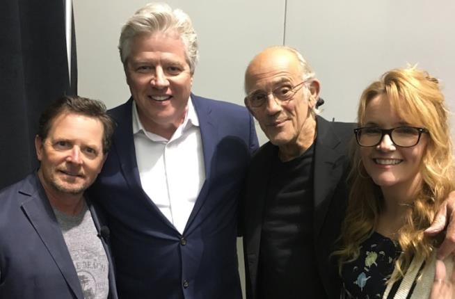 'Ritorno al futuro', la reunion di Marty, Doc, Lorraine e Biff
