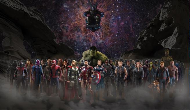 Un'immagine dei supereroi che vedremo in Avengers: Infinity War