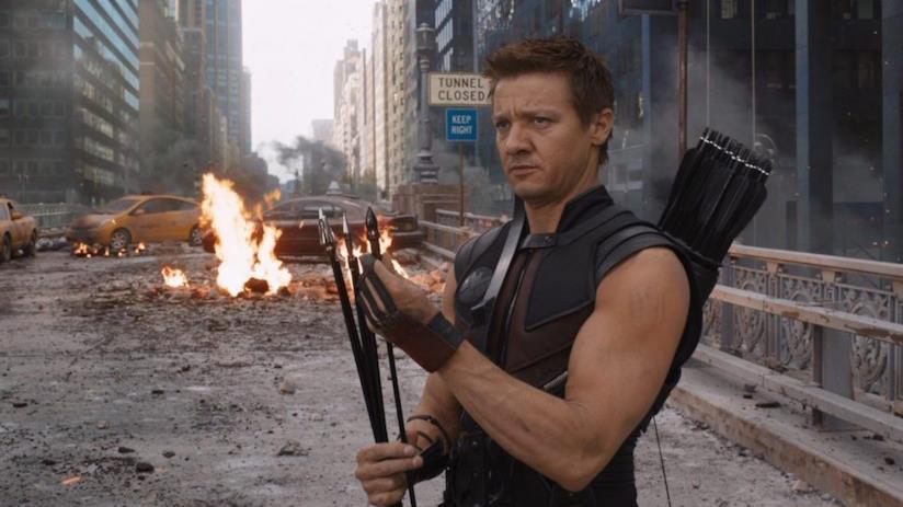 Un primo piano di Jeremy Renner in The Avengers
