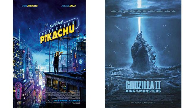 Pokémon - Detective Pikachu e Godzilla II - King of The Monsters - i poster dei due film