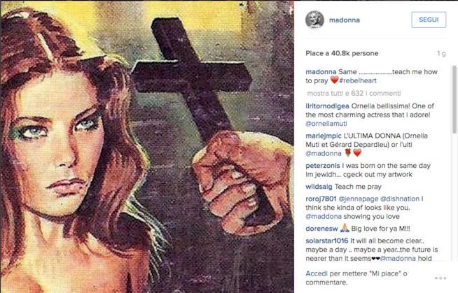 La locandina con Ornella Muti postata da Madonna su Instagram