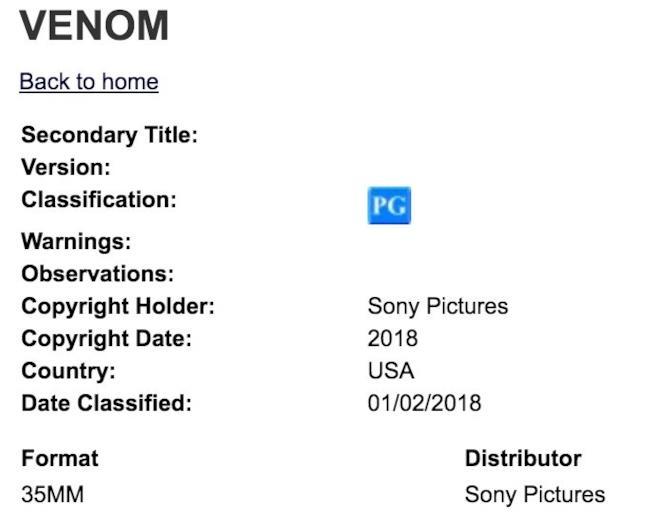 La valutazione ufficiale della Manitoba Film Classification Board di Venom