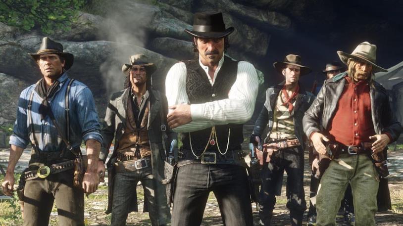 I protagonisti di Red Dead Redemption 2: in primo piano, il capo banda Dutch Van der Linde
