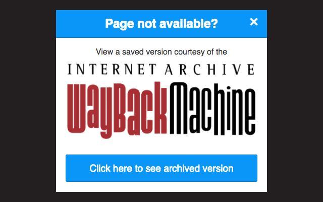 La pagina che rimanda a una versione conservata di pagine web