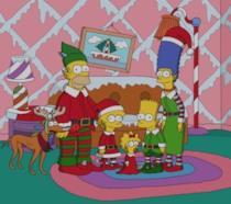 La famiglia Simpson festeggia il Natale vestita da elfi