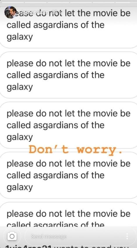 La Storia pubblicata su Instagram nella quale viene smentito il titolo Asgardiani della Galassia