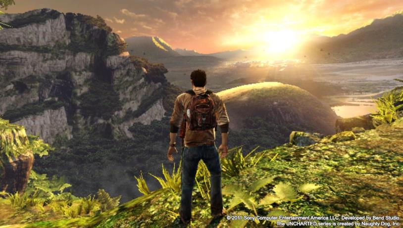 Nathan Drake in uno screenshot da Uncharted: Golden Abyss